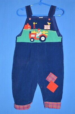 vintage 80s OLD MCDONALD FARMER FARM CORDUROY PLAID OVERALLS BABY 18 MONTHS