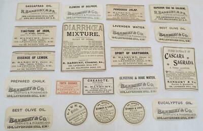 Pharmacist Chemist Drug Store 20 Antique Victorian Labels (a)