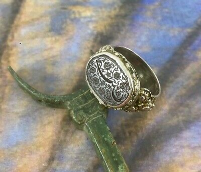Antique Rare Albania Ottoman Silver Ring Floral Engraved Used - 2952