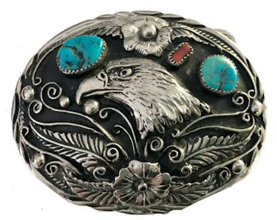 Vtg Eagle Belt Buckle Turquoise Coral Stone Inlay SSI Artist Inlaid Signed Cool