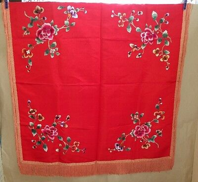 Antique Elegant Oriental CHINESE Red Silk Embroidered Tablecloth long fringe.