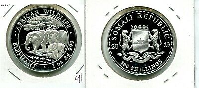 Somali Elephant 2013 100 Shillings 1 Ounce  .999 Silver Coin 915M