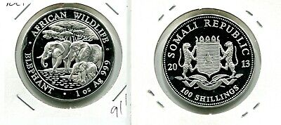Somali Elephant 2013 100 Shillings 1 Ounce  .999 Silver Coin 916M