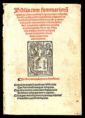 The Title Page 1519 Latin Bible Leaf Woodblock Sts Peter & Paul Veil of Veronica