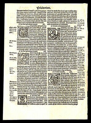 Psalms  Latin Bible Leaf Lot (3) Consecutive Leaves Psalms 9-28 The 23rd Psalm