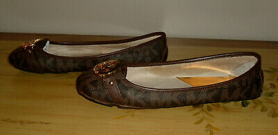 e0d71f4354b Michael Kors Women s Signature Fulton Leather Moccasins Flats Shoes Sz 10 M