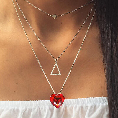 Simple Boho Gold Color Red Heart Bead Multilayer Necklace Chockers For Women FG