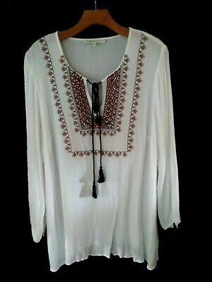 130bdb0b96ef7c WOMENS PLUS SIZE Ellos White Embroidered Tunic 1X - $14.99 | PicClick