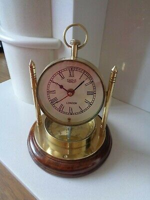 Vintage Smiths Enfield Brass Quartz Mantle Clock With Compass Wooden Base