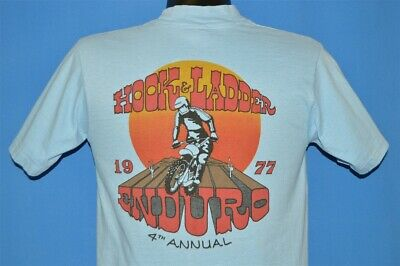 vintage 70s HOOK & LADDER ENDURO RACE 1977 4TH ANNUAL DIRTBIKE t-shirt SMALL S