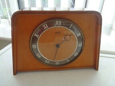 Vintage Smiths Wooden Mechanical Mantle Clock 4 Jewels 8 Day G.w.o