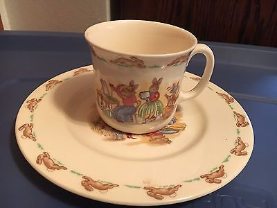 Collectible Vintage Bunnykins Royal Doulton Child's Plate & Cup English China