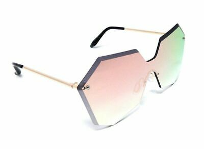 6ca480060c WOMENS RIMLESS LASER Cut Futuristic Sunglasses Oversized One Piece ...
