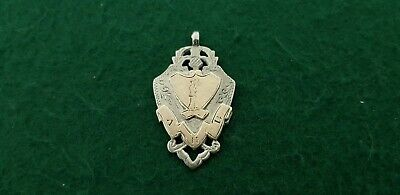 Antique HM 1905 Man & Quoits Solid Sterling Silver & 9ct Gold Watch Fob Medal