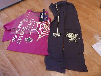 AGE 5-6 GIRL'S HALLOWEEN PJ's 'ITSY BITSY SPIDER PARTY' COBWEB 100% COTTON *NEW*