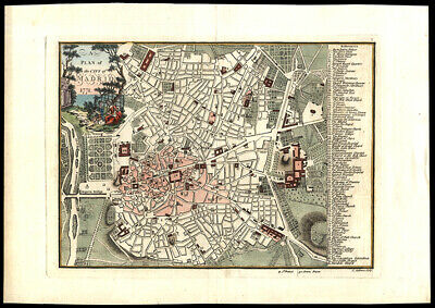 1771 John Andrews Map Plan of The City of Madrid Hand Colored Engraving London