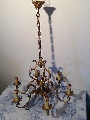 Vintage French 6 Arm Ornate Bronze Bird Cage Chandelier Ceiling Light (1964)