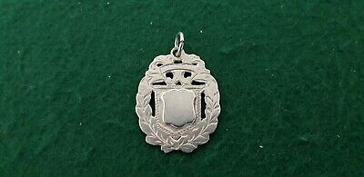 Antique HM 1900 Herbert Bushell Solid Sterling Silver Watch Fob Medal