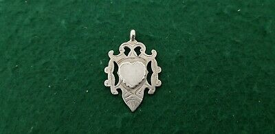 Antique HM 1887 William Henry leather Solid Sterling Silver Watch Fob Medal