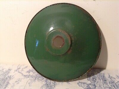 Original French Industrial Vintage Green Enamel Shade Coolie Light Shade (2243)