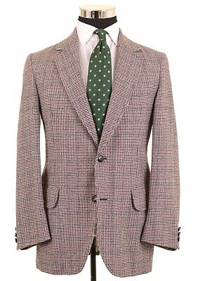 Pendleton Red & Blue Houndstooth Tweed Wool Sport Coat Jacket Blazer 40