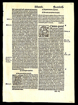 Book of Habakkuk Chapters 1-3 1519 Latin Bible Leaf  4 Historiated Letters