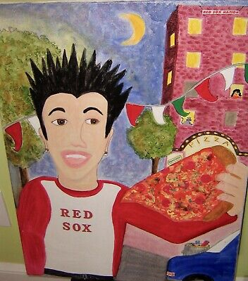 """""""Pizza King of the North End"""" Mixed Media on Canvas - Deliciously funny!"""