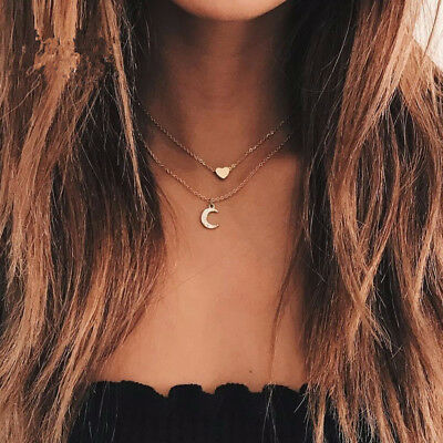 Love Heart Moon Pendant Tube Charm Gold Necklace 2 Double Chain Women FG