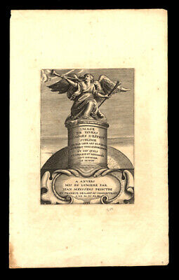 Early Printing 1649 Jean Meyssens Title Page Engraving of Angelic Sstatuary