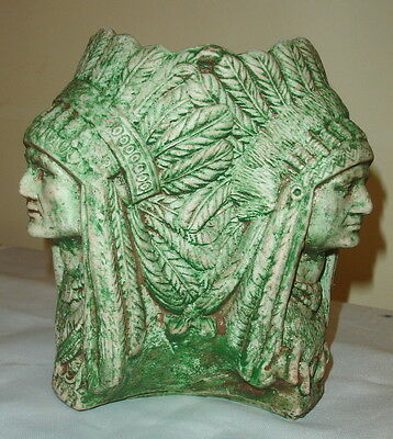 "3 Headed 8"" American Indian Native Style Chief Headdress Urn Vase Sculpture"