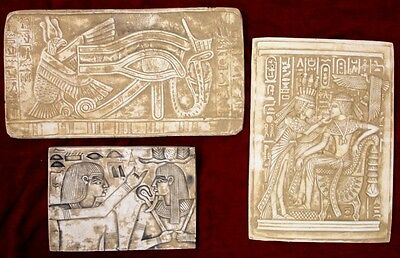 Lot of 3 Ancient Egyptian Wall Fragments King Tut, Isis, Horus,Ra Eye
