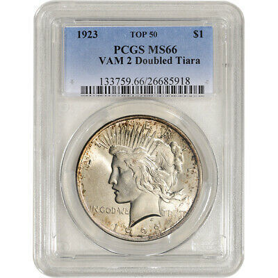 1923 US Peace Silver Dollar $1 - PCGS MS66 VAM 2 Doubled Tiara Top 50