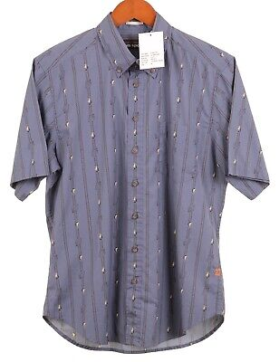 3dafb254 NWT Reyn Spooner Dusty Blue Up Anchor Hawaiian Aloha S/S Button Up Shirt M