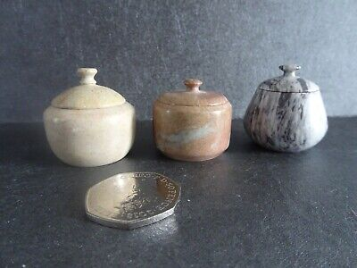 Collection Small Soapstone Lidded Boxes X 3