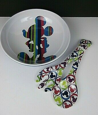Disney Parks Salad Bowl & Utensils Mickey Mouse Melamine Disneyland WDW Exclusiv