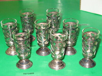 8 Sterling 925 Silver reticulated cordial aperitif liqueur glass Mexico hallmark