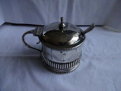 Antique Silver Plated Mustard Pot, Liner, Spoon, Evans & Matthews Birmingham
