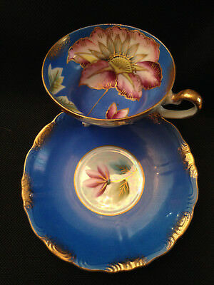 Royal Sealy Japan Footed Cup & Saucer, Royal Blue w/Pink Lotus Flower Gold Trim!