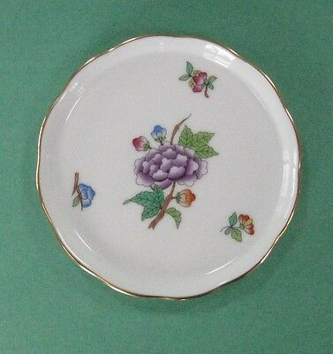 HEREND China LVF VICTORIA PAPILLONS Vintage Porcelain PEONY BUTTERFLY BUTTER PAT