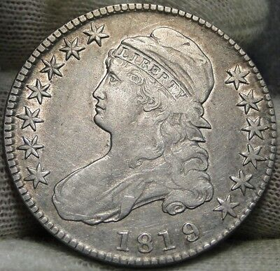 1819/8 Capped Bust Half Dollar 50 Cents - Nice Coin, Free Shipping (6554)