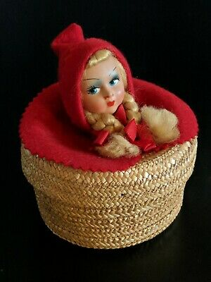 Vintage Doll Coil Basket Red Riding Hood Blond Braids Hand Painted