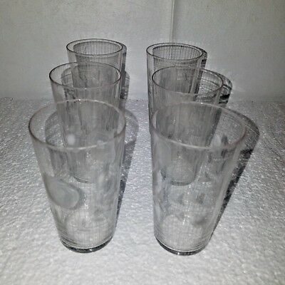 Set of 6 Antique Fostoria Crystal Rose Glass Wheel Cut Etched Juice Glasses
