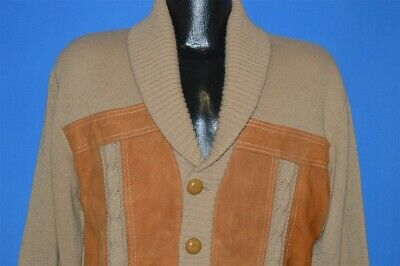 vintage 70s BROWN BUTTON FRONT SHAWL FAUX LEATHER CARDIGAN SWEATER