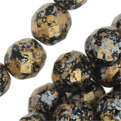 Czech Fire Polished Glass, Faceted Round Beads 8mm, 20 Pieces, Tweedy Gold