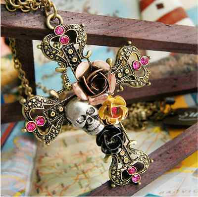 Beautiful individualizing ancient bronze skull roses ornament cross necklace