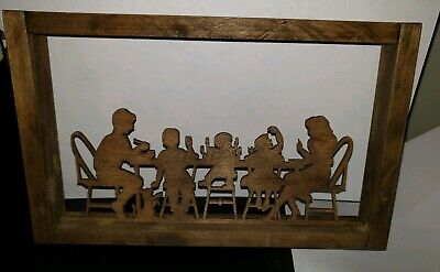 Scroll Saw Art Carving Wood Silhouette Shadow Family At Dinner Table Picture