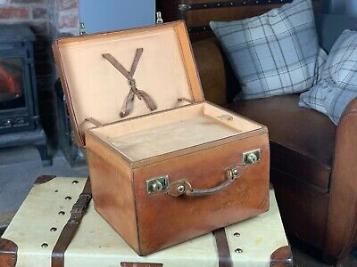 Huge English Leather Top Hat Square Leather Hatbox 5 Hats & Tray