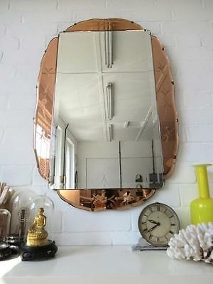 Vintage Extra Large Art Deco Bevelled Edge Wall Mirror Colored Glass Sections