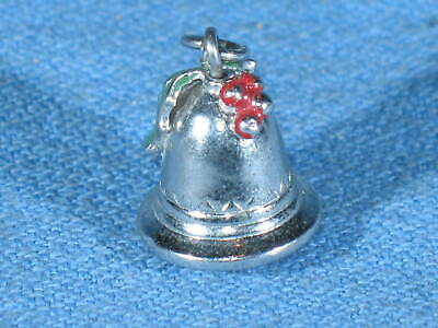 Vintage Sterling Silver 3D Ornate Christmas Bell Charm w/Decorative Holly Top