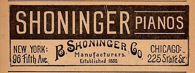 1893 B. Shoninger Piano Manufacturers, Chicago, Illinois Advertisement